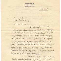 Letter from Joe Snyder, Jr. to W. S. Teator Page 1