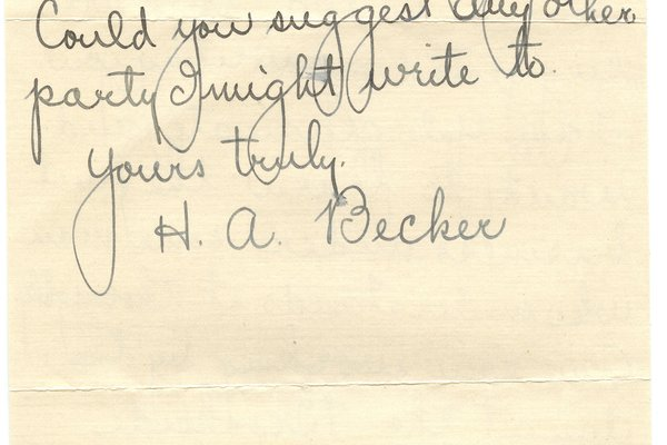 Letter from H. A. Becker to W. S. Teator Page 2
