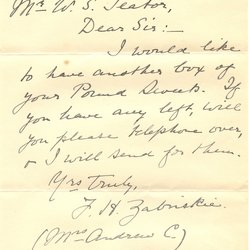 Letter from J. H. Zabniskie to W. S. Teator