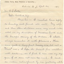 Letter from Thomas A. Keeler to W. S. Teator