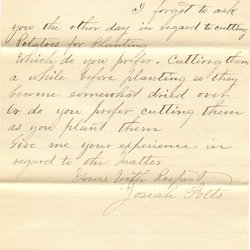 Letter from Josiah Potts to W. S. Teator