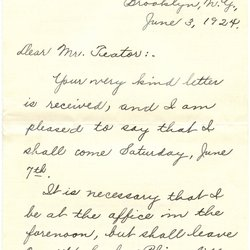 Letter Harold L. Teater to William S. Teator Page 1