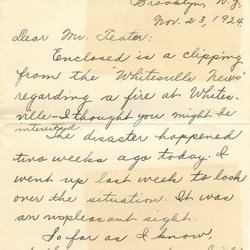 Letter Harold L. Teater to William S. Teator (1924-11-23) Page 1