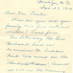 Letter Harold L. Teator to William S. Teator (1924-9-29) Page 1