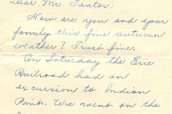 Letter Harold L. Teator to William S. Teator (1924-9-29) Page 1