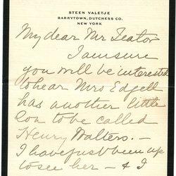 Letter Jean W. Delano to William S. Teator (-10-7) Page 1
