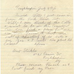 Letter Stickle to William S. Teator