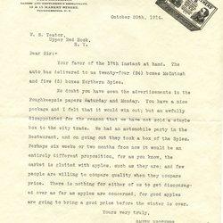 Letter Milo E. Westbrooke to William S. Teator