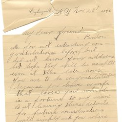 Letter H. Greene to William S. Teator (1891-11-23)