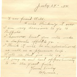 Letter H. Greene to William S. Teator (1911-7-29)
