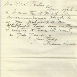 Letter Clarence Lown to William S. Teator (1887-3-9)