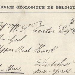 Letter Service Géologique de Belgique to William S. Teator