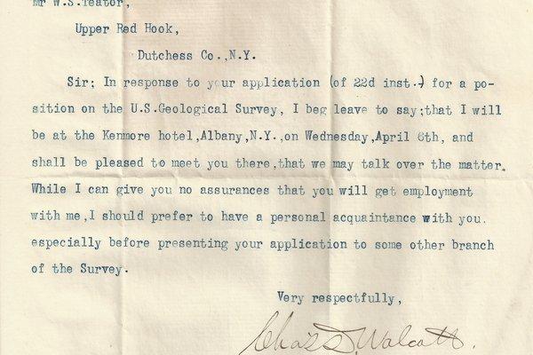 Letter Charles D. Walcott to William S. Teator