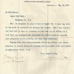Letter Charles D. Walcott to William S. Teator (1887-5-13)