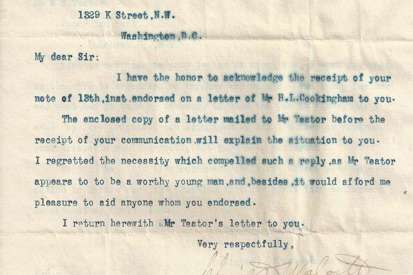 Letter Charles D. Walcott to J. H. Ketchum