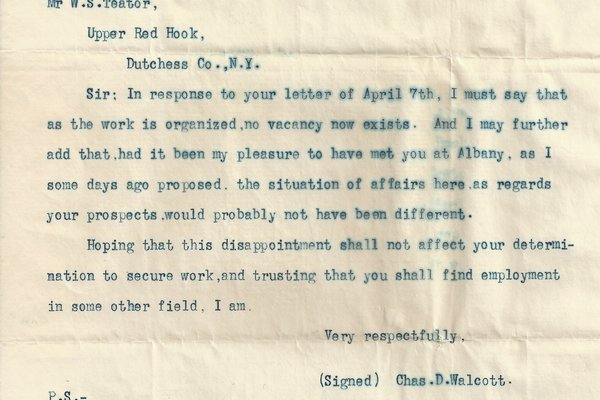 Letter Charles D. Walcott to William S. Teator (1887-5-13) COPY