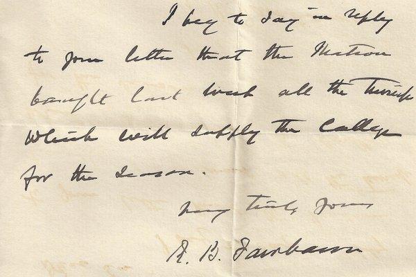 Letter Robert B. Fairbairn to William S. Teator
