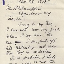 Letter William S. Teator to R. Chandler Page 1