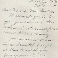 Letter Haroed Teator to William S. Teator Page 1