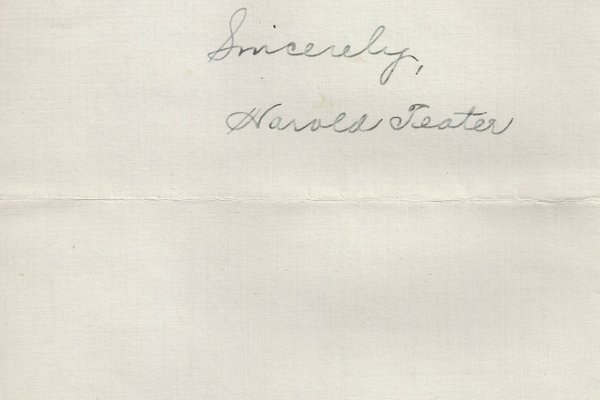 Letter Haroed Teator to William S. Teator Page 3