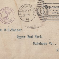 Letter Department of the Interior U. S. Geological Survey to William S. Teator (1887-5-13)