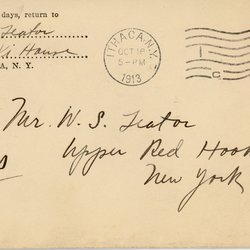 """Envelope labeled """"Designs,"""" from Roscoe Teator to William Teator"""