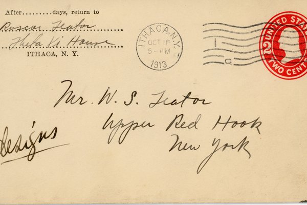 "Envelope labeled ""Designs,"" from Roscoe Teator to William Teator"