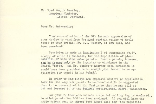 Letter from Fred Morris Dearing to William Teator (1926-10-20), attached letter