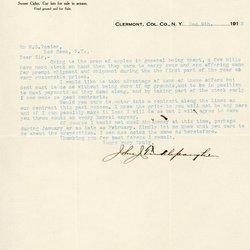 Letter from John J. Tinklepaugh to William S. Teator