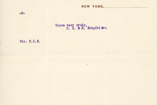 Letter from C. I. & M. Dingfelder to William S. Teator, page 2