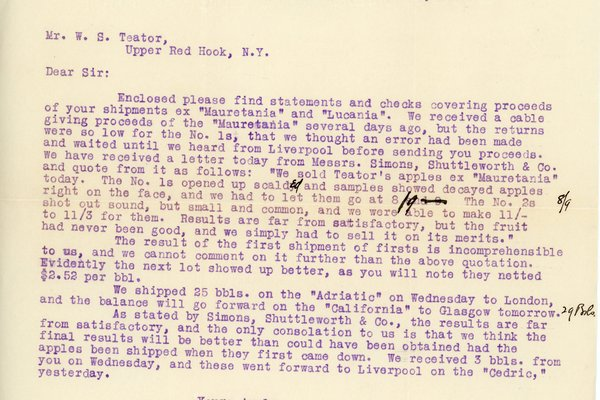 Letter from W. M. French to W. S. Teator