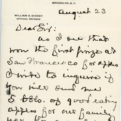 Letter from William D. Dickey to W. S. Teator Page 1