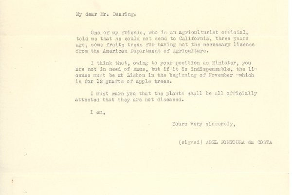 Letter from Abel Fontoura da Costa to Fred Dearing