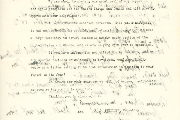 Letter from R. G. Phillips to W. S. Teator Page 1
