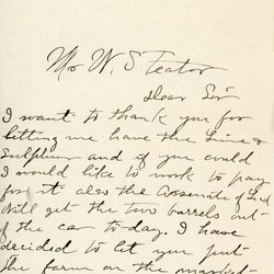 Letter from C. W. Bliss to W. S. Teator Page 1